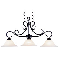 Buckingham 3 Light 40 inch Matte Black Billiard Light Ceiling Light in Incandescent