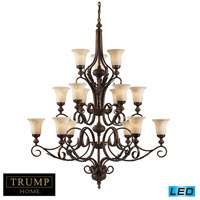 ELK Lighting Trump Home Westchester Briarcliff 15 Light LED Chandelier in Weathered Umber 2481/6+6+3-LED