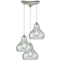 Belmont 3 Light 12 inch Satin Nickel Pendant Ceiling Light in Triangular Canopy