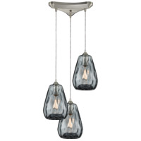 Tulare 3 Light 12 inch Satin Nickel Pendant Ceiling Light in Triangular Canopy