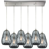 Tulare 6 Light 32 inch Satin Nickel Pendant Ceiling Light in Rectangular Canopy