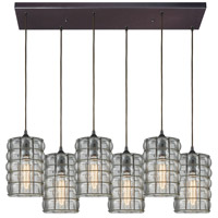 Murieta 6 Light 32 inch Oil Rubbed Bronze Pendant Ceiling Light in Rectangular Canopy