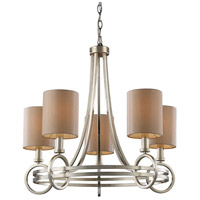 New York 5 Light 24 inch Renaissance Silver Leaf Chandelier Ceiling Light