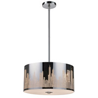 ELK 31038/3 Skyline 3 Light 16 inch Polished Stainless Steel Pendant Ceiling Light