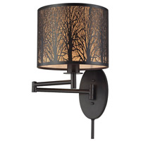 Woodland Sunrise 11 inch 100 watt Oil Rubbed Bronze Swingarm Sconce Wall Light