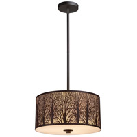 Woodland Sunrise 3 Light 16 inch Aged Bronze Pendant Ceiling Light in Standard