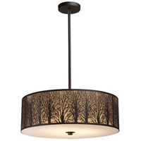 Woodland Sunrise 5 Light 24 inch Aged Bronze Pendant Ceiling Light in Standard