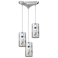 ELK 31076/3 Chromia 3 Light 10 inch Polished Chrome Pendant Ceiling Light in Incandescent, Triangular Canopy