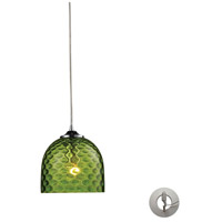 Viva 1 Light 7 inch Polished Chrome Pendant Ceiling Light in Green Glass, Recessed Adapter Kit