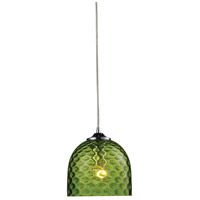 Viva 1 Light 7 inch Polished Chrome Pendant Ceiling Light in Green Glass, Standard
