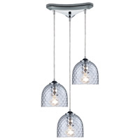 ELK 31080/3CLR Viva 3 Light 10 inch Polished Chrome Pendant Ceiling Light in Satin Nickel, Clear, Triangular Canopy