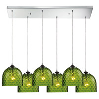 Viva 6 Light 30 inch Satin Nickel Pendant Ceiling Light in Green Glass