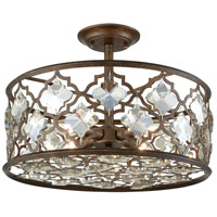 Armand 4 Light 17 inch Weathered Bronze Semi Flush Mount Ceiling Light
