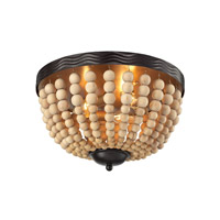 ELK Lighting Helene 3 Light Flushmount in Oil Rubbed Bronze with Natural Wood Bead Shade 31109/3