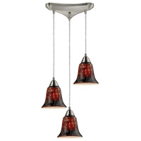 Confections 3 Light 10 inch Satin Nickel Pendant Ceiling Light in Fudge Glass