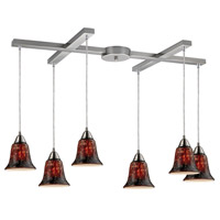 Confections 6 Light 33 inch Satin Nickel Pendant Ceiling Light in Fudge Glass