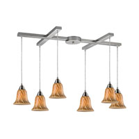 Confections 6 Light 33 inch Satin Nickel Pendant Ceiling Light in Toffee Glass