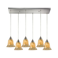 Confections 6 Light 30 inch Satin Nickel Pendant Ceiling Light in Nougat Glass