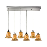 Confections 6 Light 30 inch Satin Nickel Pendant Ceiling Light in Toffee Glass