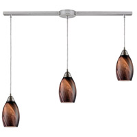 ELK 31133/3L-RCK Formations 3 Light 36 inch Satin Nickel Pendant Ceiling Light in Rockslide Glass