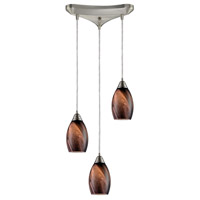 Formations 3 Light 10 inch Satin Nickel Pendant Ceiling Light in Rockslide Glass