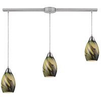 Formations 3 Light 36 inch Satin Nickel Pendant Ceiling Light in Planetary Glass