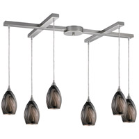 ELK Lighting Formations 6 Light Pendant in Satin Nickel and Ashflow Glass 31133/6ASH