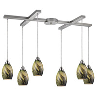 ELK 31133/6PLN Formations 6 Light 33 inch Satin Nickel Pendant Ceiling Light in Planetary Glass