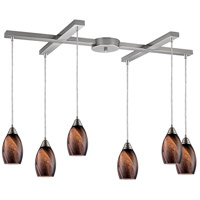 Formations 6 Light 33 inch Satin Nickel Pendant Ceiling Light in Rockslide Glass