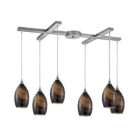 ELK Lighting Formations 6 Light Pendant in Satin Nickel and Wavelength Glass 31133/6WV