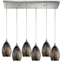 Formations 6 Light 30 inch Satin Nickel Pendant Ceiling Light in Ashflow Glass