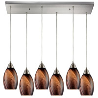 Formations 6 Light 30 inch Satin Nickel Pendant Ceiling Light in Rockslide Glass