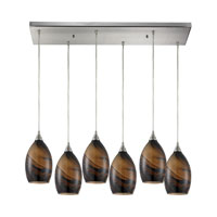 Formations 6 Light 30 inch Satin Nickel Pendant Ceiling Light in Wavelength Glass