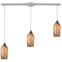 Sandstone 3 Light 36 inch Satin Nickel Linear Pendant Ceiling Light in Incandescent, Linear with Recessed Adapter