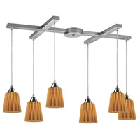 ELK Lighting Angles 6 Light Pendant in Satin Nickel and Amber Glass 31141/6AMB