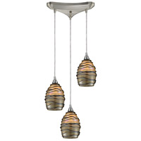 ELK 31142/3 Vines 3 Light 10 inch Satin Nickel Mini Pendant Ceiling Light in Incandescent, Triangular Canopy, Triangular