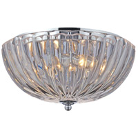 Crystal 2 Light 12 inch Polished Chrome Flush Mount Ceiling Light