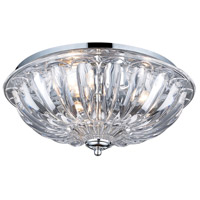 Crystal 3 Light 16 inch Polished Chrome Flush Mount Ceiling Light