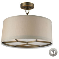 Baxter 3 Light 16 inch Brushed Antique Brass Semi-Flush Mount Ceiling Light in Recessed Adapter Kit