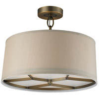 Baxter 3 Light 16 inch Brushed Antique Brass Semi-Flush Mount Ceiling Light in Standard