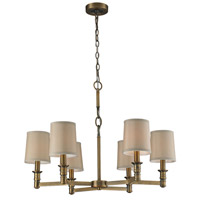 ELK 31266/6 Baxter 6 Light 29 inch Brushed Antique Brass Chandelier Ceiling Light
