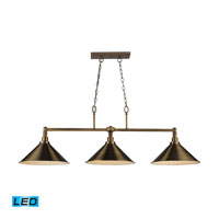 ELK Lighting Baxter 3 Light Billiard/Island in Brushed Antique Brass 31270/3AB-LED