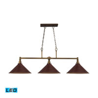 ELK Lighting Baxter 3 Light Billiard/Island in Brushed Antique Brass 31270/3DW-LED
