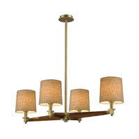 Jorgenson 4 Light 40 inch Satin Brass Chandelier Ceiling Light