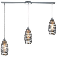 Twister 3 Light 36 inch Polished Chrome Pendant Ceiling Light in Vine Wrap Glass