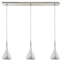 Lindsey 3 Light 36 inch Satin Nickel Linear Pendant Ceiling Light in Marble Print, Linear Pan