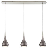 Lindsey 3 Light 36 inch Satin Nickel Linear Pendant Ceiling Light in Weathered Zinc, Linear Pan