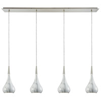 Lindsey 4 Light 46 inch Satin Nickel Linear Pendant Ceiling Light in Marble Print, Linear Pan