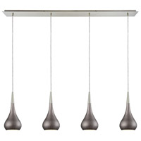 Lindsey 4 Light 46 inch Satin Nickel Linear Pendant Ceiling Light in Weathered Zinc, Linear Pan