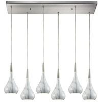 Lindsey 6 Light 30 inch Satin Nickel Pendant Ceiling Light in Rectangular Canopy, Marble Print